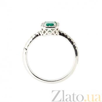 Золотое кольцо в белом цвете с изумрудом и бриллиантами Блюз ZMX--RE-6602w_K