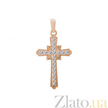 Крестик в красном золоте Небесное сияние с бриллиантами 000079232