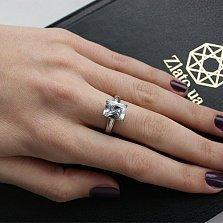 Серебряное кольцо Монте-Карло с белым фианитом