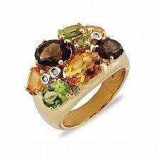 Кольцо из желтого золота Пакохонтас с раухтопазами, цитрином, перидотом и бриллиантами