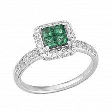 Золотое кольцо Аста в белом цвете с изумрудами и бриллиантами