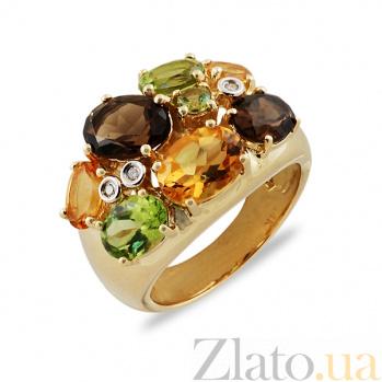 Кольцо из желтого золота Пакохонтас с раухтопазами, цитрином, перидотом и бриллиантами  000045945
