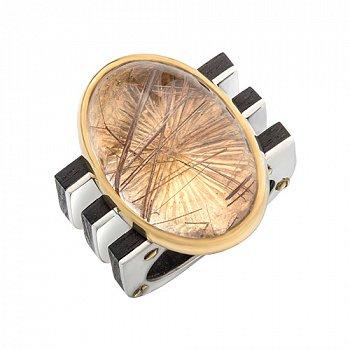 Серебряный перстень с кварцем и эбеновым деревом 000055019