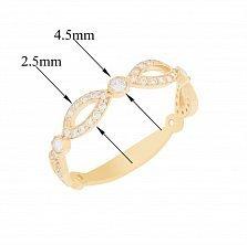 Золотое кольцо Гриэль с узорной шинкой и белыми фианитами