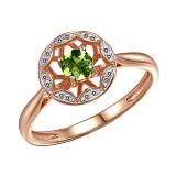 Кольцо Мия из красного золота с бриллиантами и хризолитом
