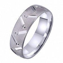 Мужское обручальное кольцо Крылатая любовь из белого золота