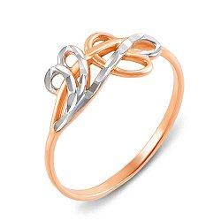 Золотое кольцо Завитки в комбинированном цвете с алмазной гранью