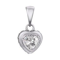 Серебряный кулон Счастливое сердечко с кристаллами циркония