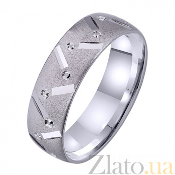 Мужское обручальное кольцо Крылатая любовь из белого золота TRF--421322