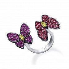 Серебряное кольцо Бабочки с красными, фиолетовыми и желтыми фианитами