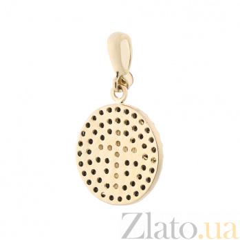 Медальон Королева Марго в желтом золоте с черными и белыми фианитами 000082499
