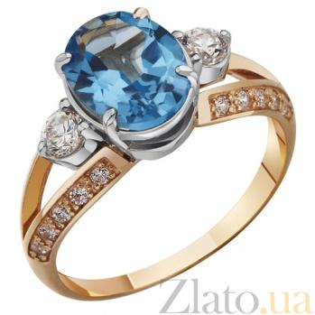 Золотое кольцо с топазом и цирконием Нимфея AUR--31712 01