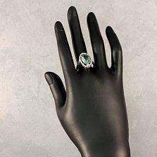 Серебряное кольцо Рихарт с синтезированным кварцем мятного цвета и белыми фианитами