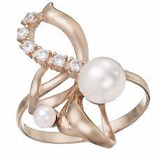 Золотое кольцо Летисия с жемчугом и фианитами