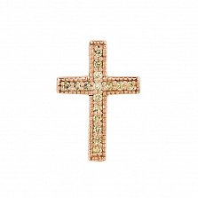 Крестик в красном золоте Истина с бриллиантами