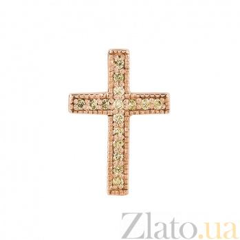 Крестик в красном золоте Истина с бриллиантами 000079225