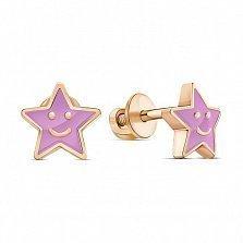 Серебряные серьги-пуссеты Улыбчивая звездочка с розовой эмалью и позолотой