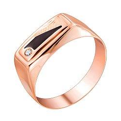 Перстень-печатка из красного золота с эмалью и цирконием 000140055