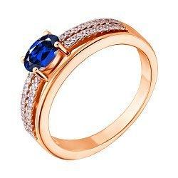 Позолоченное серебряное кольцо с синим и белым цирконием 000028448