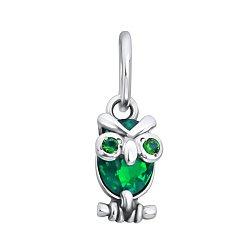 Серебряный кулон Строгая сова с зелеными фианитами