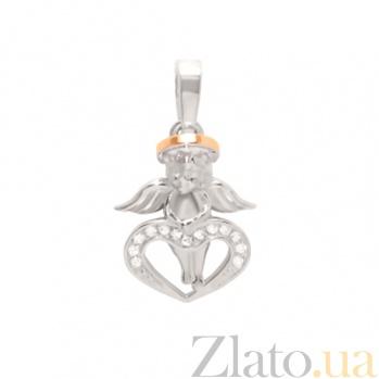Серебряный подвес с цирконием и золотой вставкой Ангелок 000029492