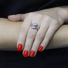 Серебряное кольцо Дуэт из капель с разомкнутой шинкой в минималистичном стиле
