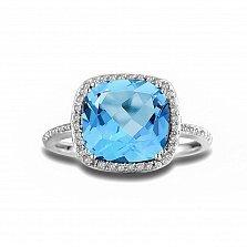 Кольцо из белого золота Шейла с голубым топазом и бриллиантами