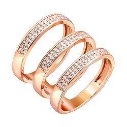 Серебряное тройное кольцо с фианитами и позолотой 000141127