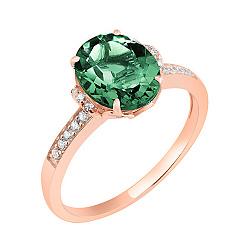 Кольцо в красном золоте Оксана с синтезированным зеленым кварцем и фианитами 000047615