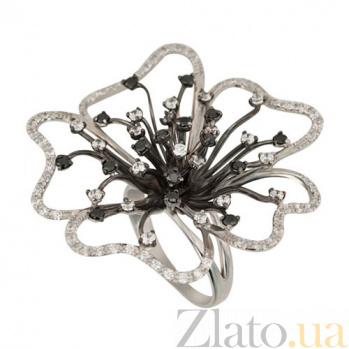 Кольцо из белого золота с черными фианитами Орхидея VLT--Т1146
