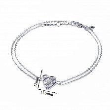 Серебряный двойной браслет Сердце большое мозаика с белым перламутром, 11,5x12мм