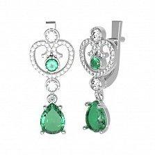 Серебряные серьги Эмили с зеленым кварцем и фианитами