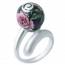 Серебряное кольцо Вечерняя роза с цветной эмалью