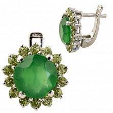 Серебряные серьги Изабель с зеленым агатом и хризолитом