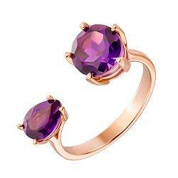 Кольцо из красного золота с аметистами 000131343