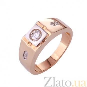 Золотое кольцо-печатка с фианитами Евсей ONX--к00907