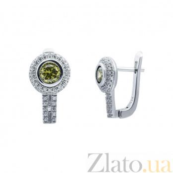 Серебряные серьги оливковым цирконом Ираклия AQA--RJ2833-Eol