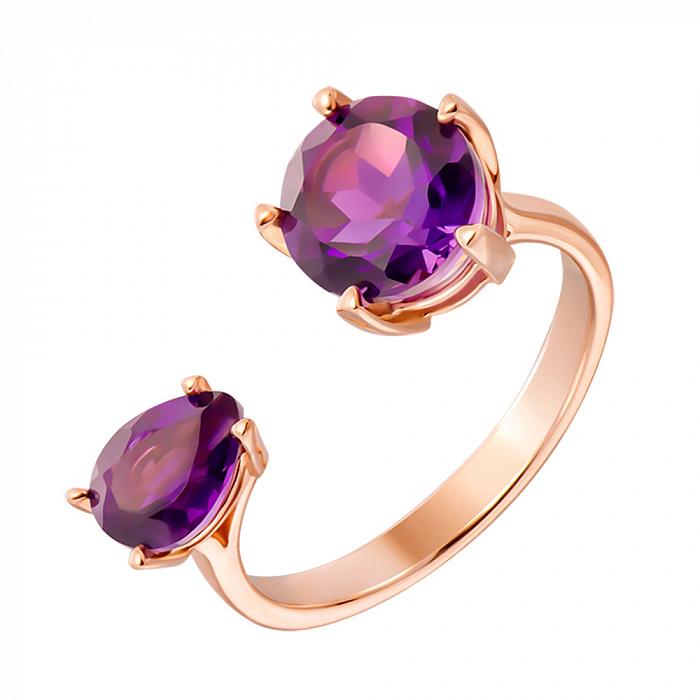 Кольцо из красного золота с аметистами 000131343 000131343