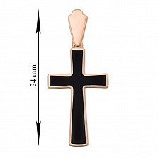 Крестик в красном золоте Решение с черной эмалью