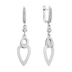 Серебряные серьги-подвески с белой керамикой и белыми фианитами 000102062