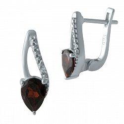 Серебряные серьги с гранатами и фианитами 000128794