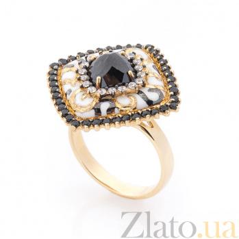 Золотое кольцо Ясира в желтом цвете с белой эмалью, белыми и черными фианитами 000082309