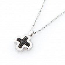 Серебряное колье Индивидуальность Zancan c подвеской- крестом и черной шпинелью