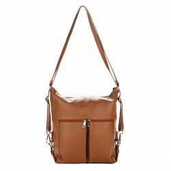 Кожаная сумка на каждый день Genuine Leather 8848 коньячного цвета со шлейками-трансформерами