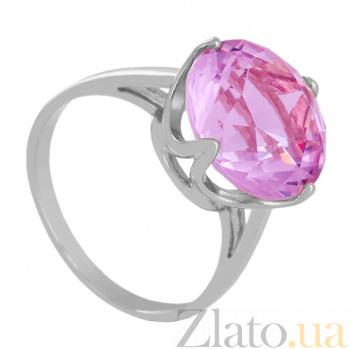 Золотое кольцо Принцесса в белом цвете с аметистом 000024482