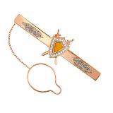 Золотой зажим для галстука Защитник с фианитами