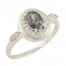 Серебряное кольцо Адель с топазом мистик и фианитами