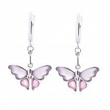 Серебряные серьги-подвески Мотыльки с сиренево-розовыми улекситами и завальцованными фианитами
