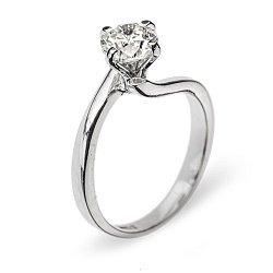 Кольцо из белого золота с бриллиантом 000006027