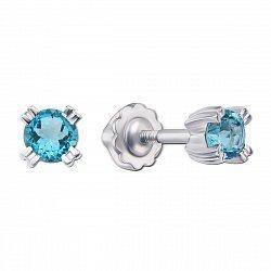 Серебряные серьги с темно-голубыми топазами 000137458